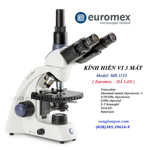 Kính hiển vi sinh học 3 mắt MB1153 Euromex