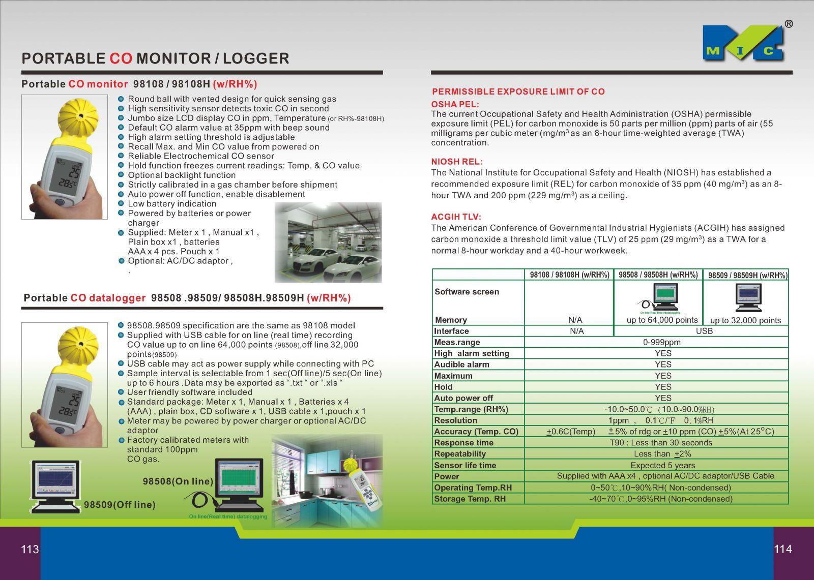 Catolog máy đo khí CO trong không khí model 98108(0-999ppm) Mic