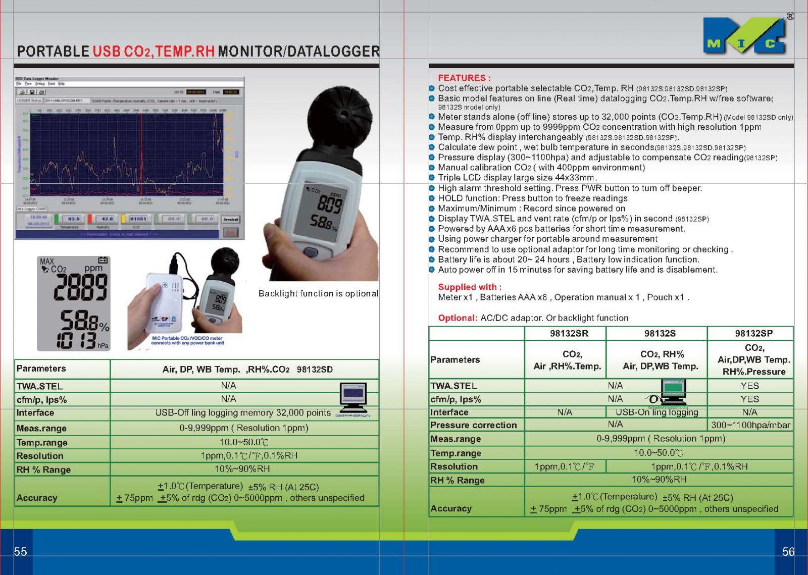 Catolog máy đo khíkhí CO2 trong không khí model 98132SR (0-9,999ppm)Mic