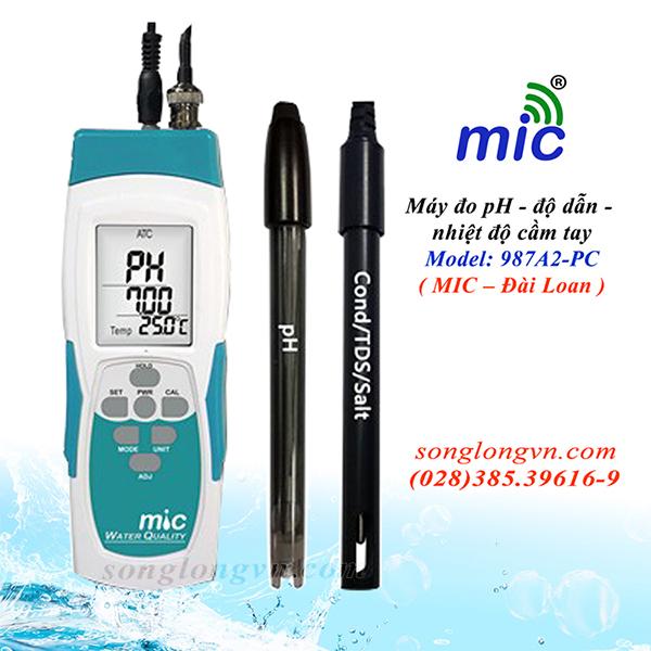Máy đo pH/độ dẫn/nhiệt độ cầm tay Model 987A2-PC MIC